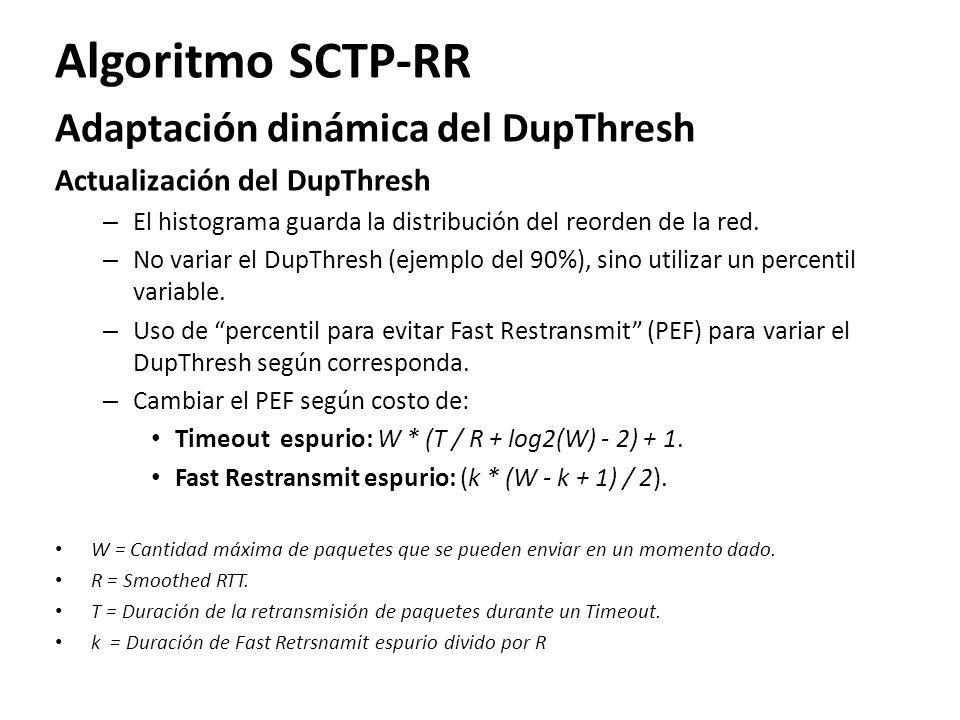 Algoritmo SCTP-RR Adaptación dinámica del DupThresh Actualización del DupThresh – El histograma guarda la distribución del reorden de la red. – No var