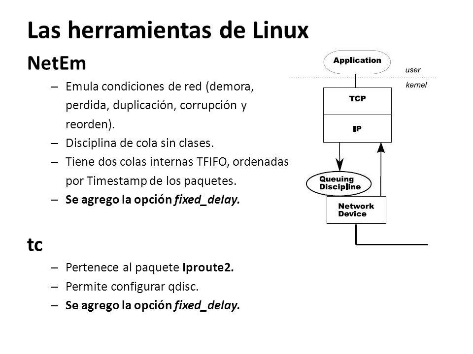 Las herramientas de Linux NetEm – Emula condiciones de red (demora, perdida, duplicación, corrupción y reorden). – Disciplina de cola sin clases. – Ti