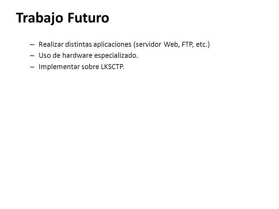 Trabajo Futuro – Realizar distintas aplicaciones (servidor Web, FTP, etc.) – Uso de hardware especializado. – Implementar sobre LKSCTP.