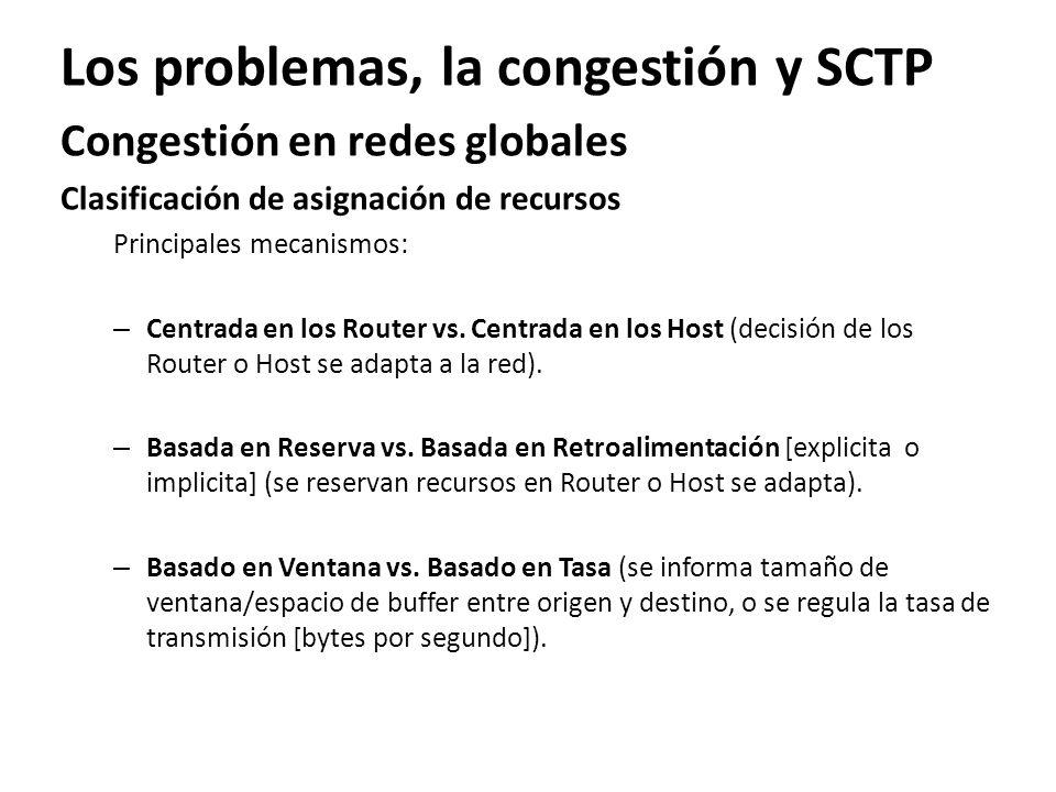 Los problemas, la congestión y SCTP Congestión en redes globales Clasificación de asignación de recursos Principales mecanismos: – Centrada en los Rou