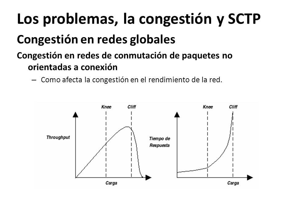 Los problemas, la congestión y SCTP Congestión en redes globales Congestión en redes de conmutación de paquetes no orientadas a conexión – Como afecta