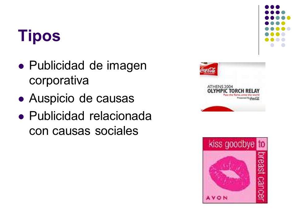 Tipos Publicidad de imagen corporativa Auspicio de causas Publicidad relacionada con causas sociales