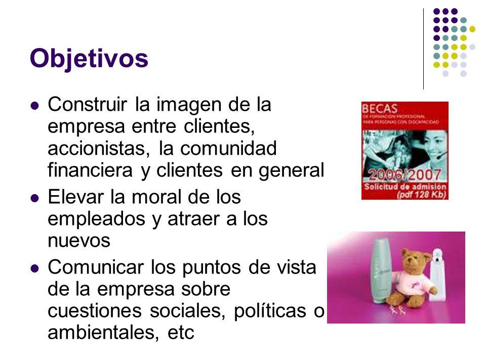 Objetivos Construir la imagen de la empresa entre clientes, accionistas, la comunidad financiera y clientes en general Elevar la moral de los empleado