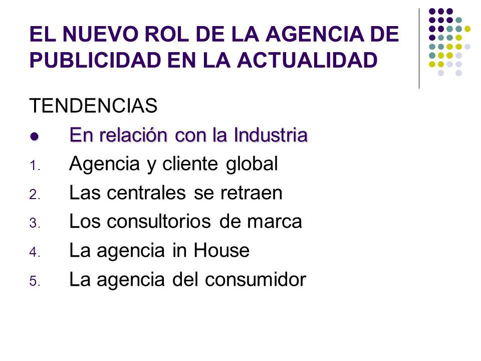 EL NUEVO ROL DE LA AGENCIA DE PUBLICIDAD EN LA ACTUALIDAD TENDENCIAS En relación con la Industria En relación con la Industria 1. Agencia y cliente gl