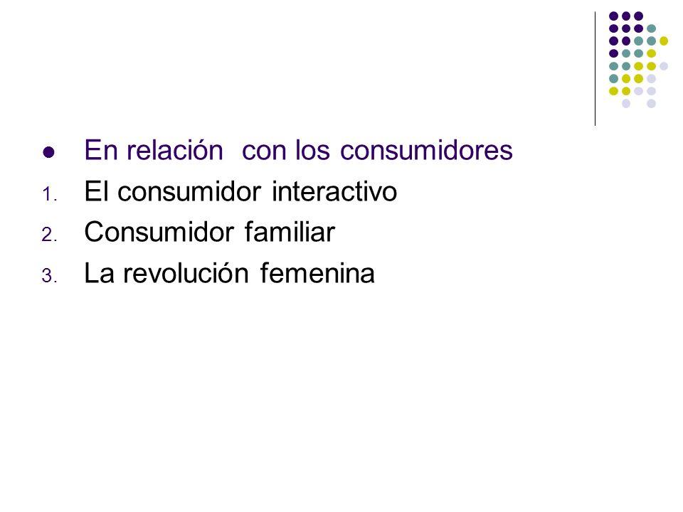 En relación con los consumidores 1. El consumidor interactivo 2. Consumidor familiar 3. La revolución femenina