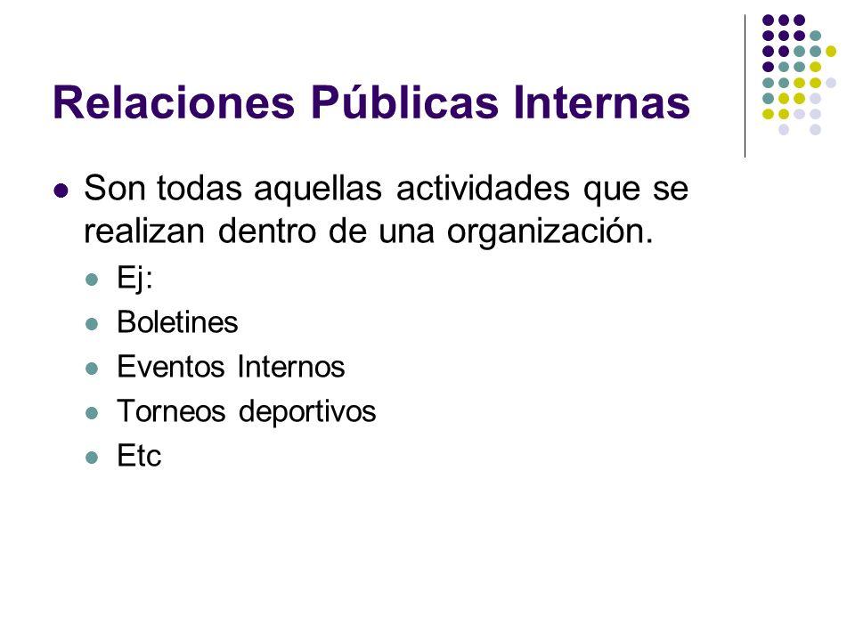 Relaciones públicas externas Son las actividades que se realizan hacia fuera de la empresa, con los diferentes públicos con los que se quiere establecer una imagen de la organización, tales como: Proveedores Gobierno Clientes Competencia Público en general Consumidores Asociaciones de beneficiencia Etc