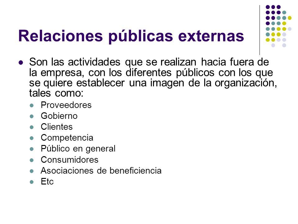 Relaciones públicas externas Actividades de relaciones públicas más usadas: Ferias Exhibiciones Reportajes Patrocinio de eventos Entrevistas y conferencias de prensa Congresos y eventos deportivos Etc