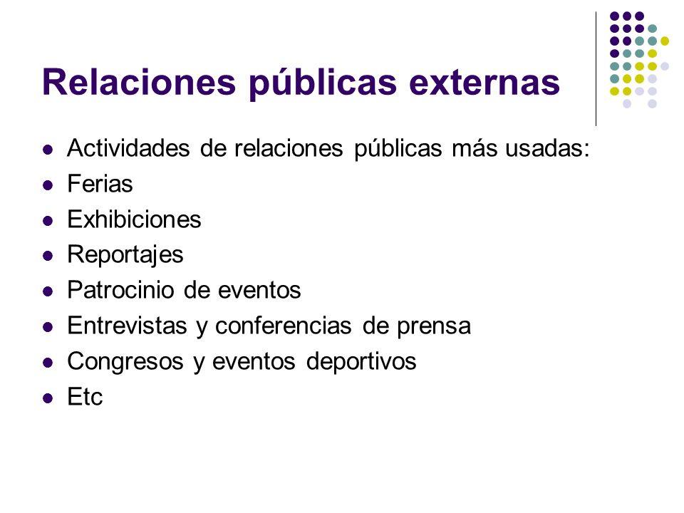 Relaciones públicas externas Actividades de relaciones públicas más usadas: Ferias Exhibiciones Reportajes Patrocinio de eventos Entrevistas y confere