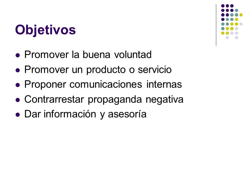 Objetivos Promover la buena voluntad Promover un producto o servicio Proponer comunicaciones internas Contrarrestar propaganda negativa Dar informació