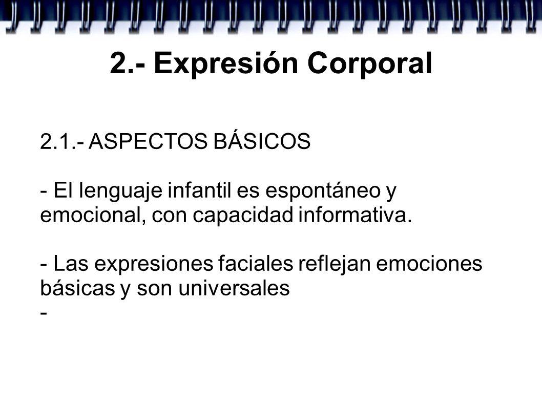 2.- Expresión Corporal 2.1.- ASPECTOS BÁSICOS - El lenguaje infantil es espontáneo y emocional, con capacidad informativa. - Las expresiones faciales