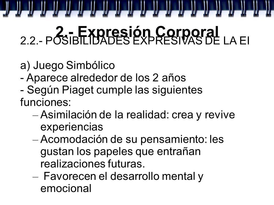 2.- Expresión Corporal 2.2.- POSIBILIDADES EXPRESIVAS DE LA EI a) Juego Simbólico - Aparece alrededor de los 2 años - Según Piaget cumple las siguient
