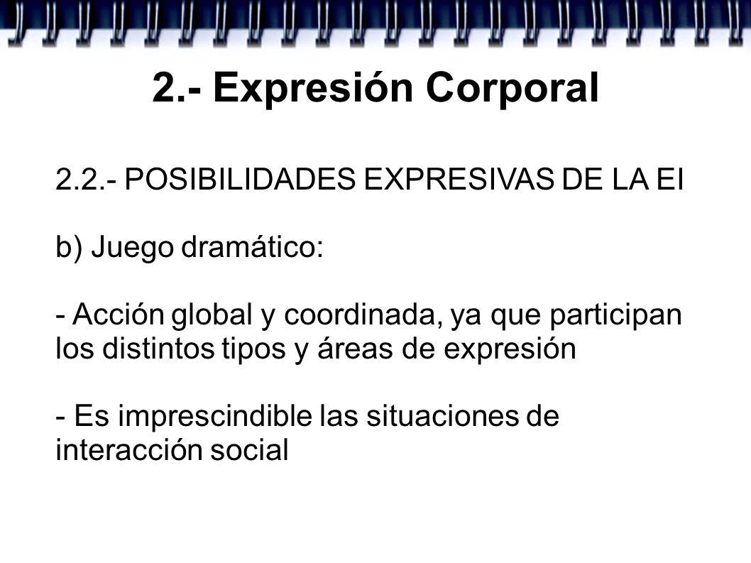 2.- Expresión Corporal 2.2.- POSIBILIDADES EXPRESIVAS DE LA EI b) Juego dramático: - Acción global y coordinada, ya que participan los distintos tipos