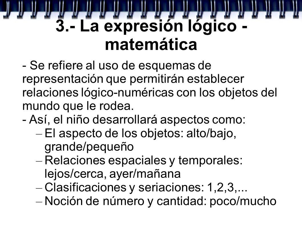 3.- La expresión lógico - matemática - Se refiere al uso de esquemas de representación que permitirán establecer relaciones lógico-numéricas con los o
