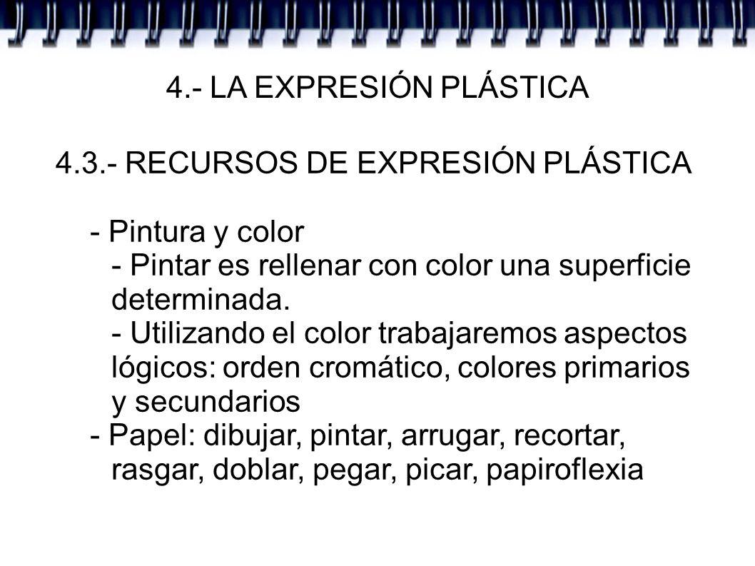 4.- LA EXPRESIÓN PLÁSTICA 4.3.- RECURSOS DE EXPRESIÓN PLÁSTICA - Pintura y color - Pintar es rellenar con color una superficie determinada. - Utilizan