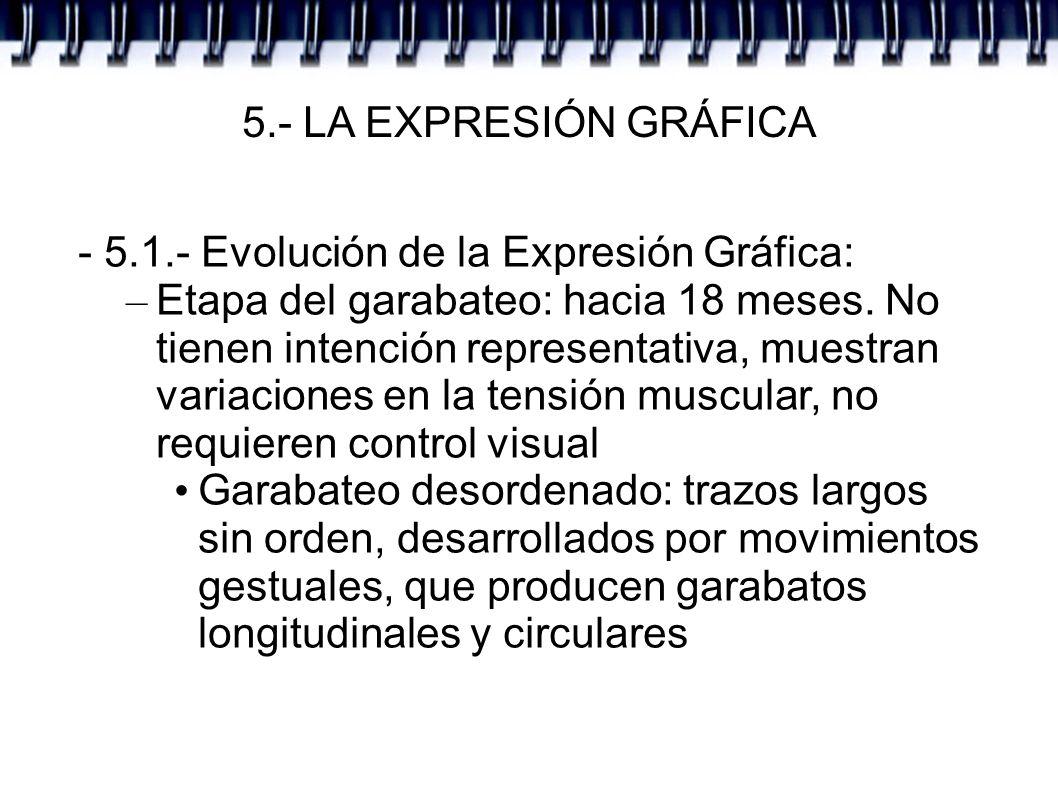5.- LA EXPRESIÓN GRÁFICA - 5.1.- Evolución de la Expresión Gráfica: – Etapa del garabateo: hacia 18 meses. No tienen intención representativa, muestra