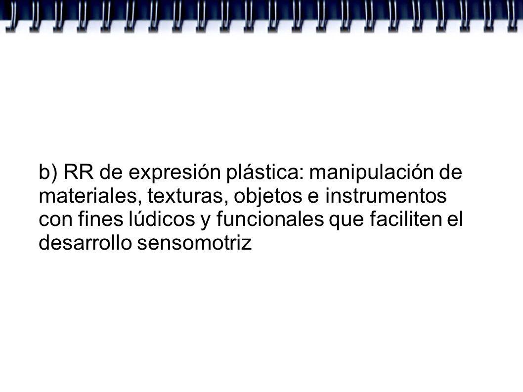 b) RR de expresión plástica: manipulación de materiales, texturas, objetos e instrumentos con fines lúdicos y funcionales que faciliten el desarrollo