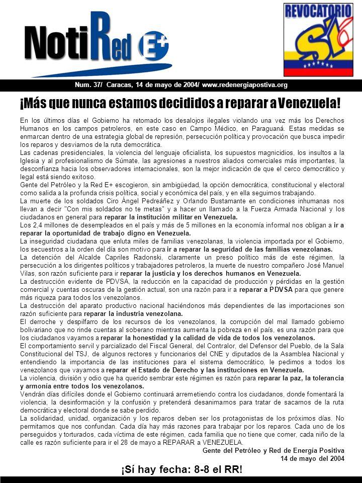 Num. 37/ Caracas, 14 de mayo de 2004/ www.redenergiapostiva.org En los últimos días el Gobierno ha retomado los desalojos ilegales violando una vez má