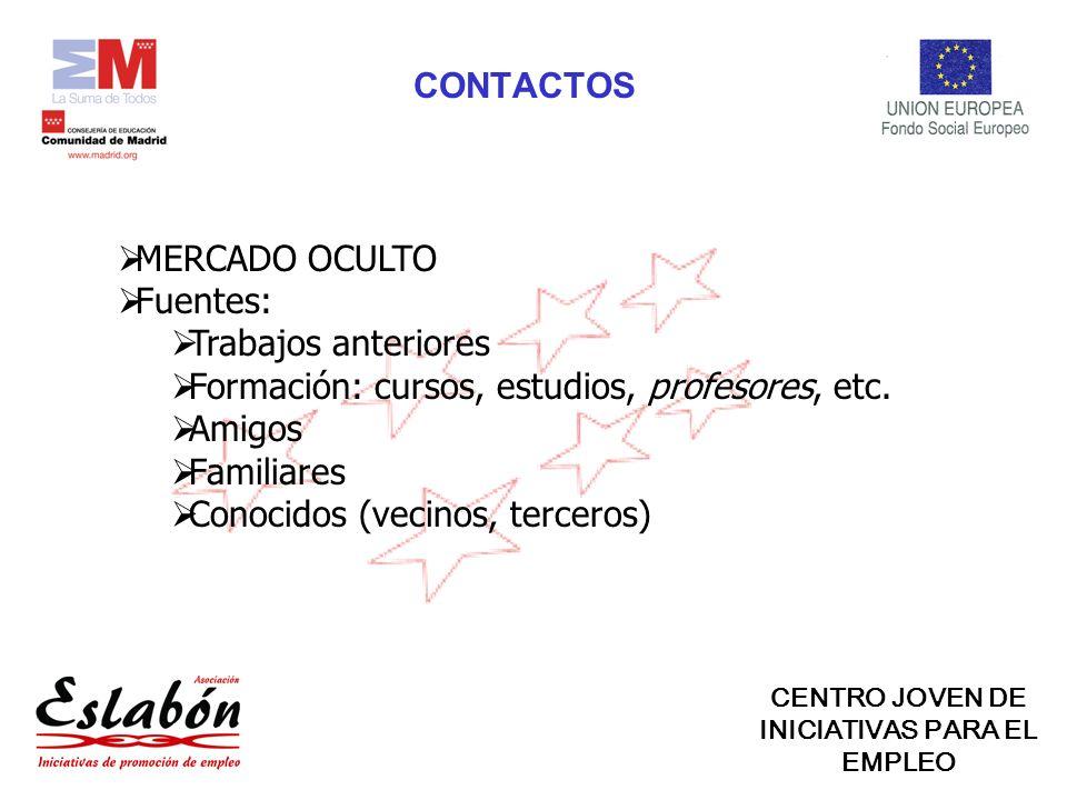 MERCADO OCULTO Fuentes: Trabajos anteriores Formación: cursos, estudios, profesores, etc.