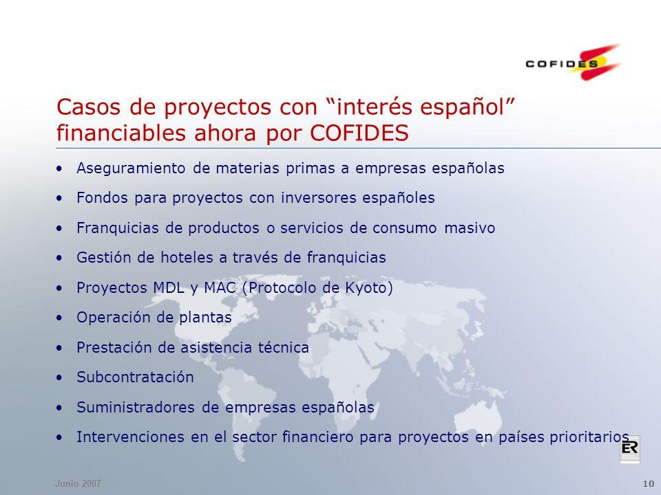 Junio 2007 10 Casos de proyectos con interés español financiables ahora por COFIDES Aseguramiento de materias primas a empresas españolas Fondos para