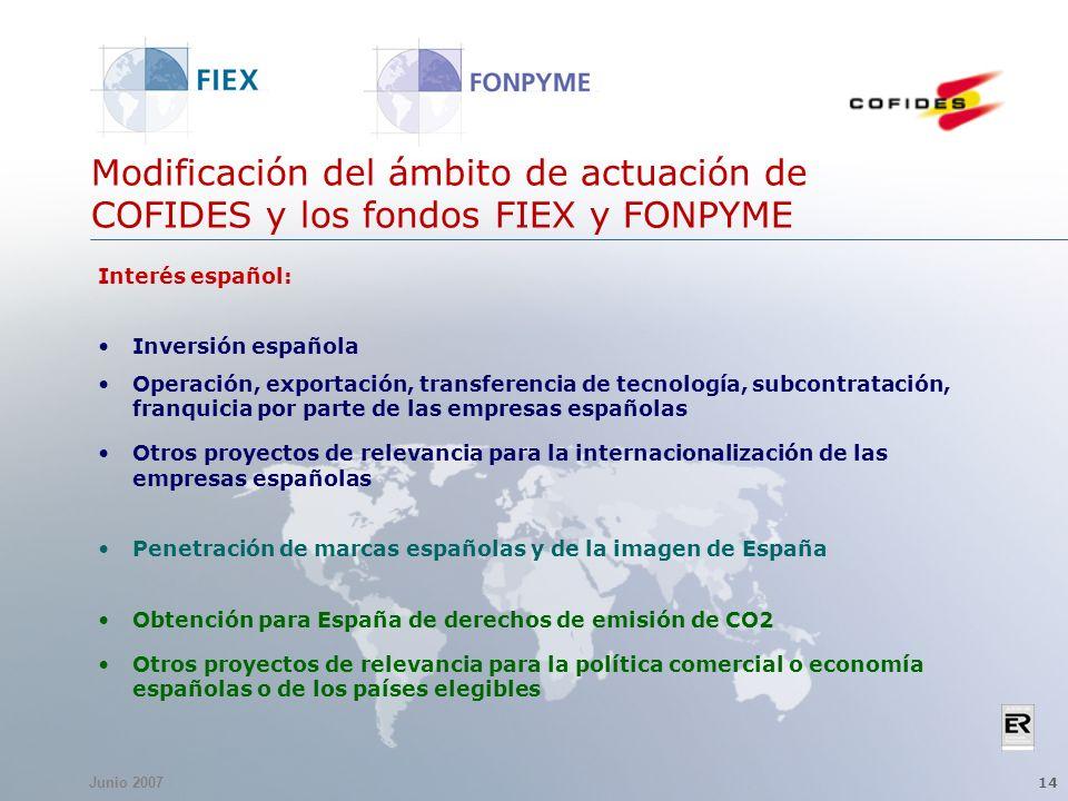 Junio 2007 14 Modificación del ámbito de actuación de COFIDES y los fondos FIEX y FONPYME Interés español: Inversión española Operación, exportación,