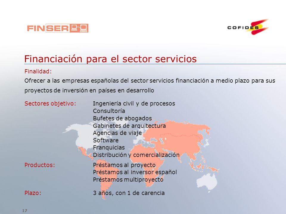 Financiación para el sector servicios Finalidad: Ofrecer a las empresas españolas del sector servicios financiación a medio plazo para sus proyectos d