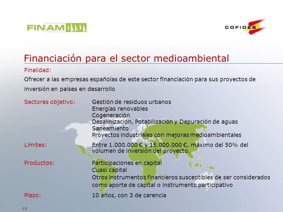 Financiación para el sector medioambiental Finalidad: Ofrecer a las empresas españolas de este sector financiación para sus proyectos de inversión en
