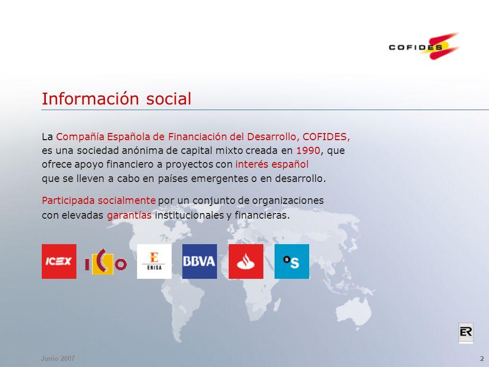 Junio 2007 2 Información social La Compañía Española de Financiación del Desarrollo, COFIDES, es una sociedad anónima de capital mixto creada en 1990, que ofrece apoyo financiero a proyectos con interés español que se lleven a cabo en países emergentes o en desarrollo.
