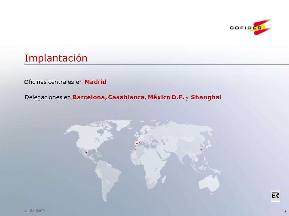 Junio 2007 3 Implantación Delegaciones en Barcelona, Casablanca, México D.F. y Shanghai Oficinas centrales en Madrid
