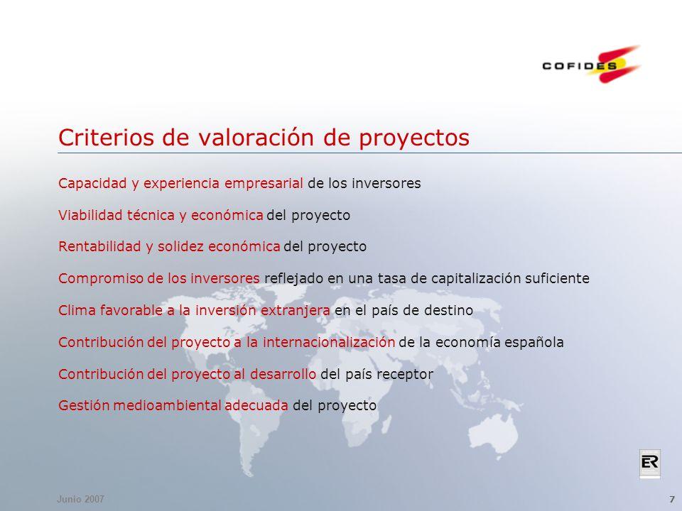 Junio 2007 7 Criterios de valoración de proyectos Capacidad y experiencia empresarial de los inversores Viabilidad técnica y económica del proyecto Re