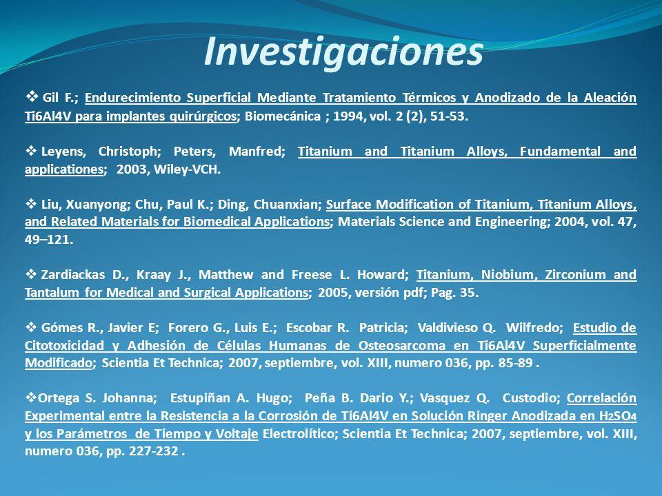 Investigaciones Gil F.; Endurecimiento Superficial Mediante Tratamiento Térmicos y Anodizado de la Aleación Ti6Al4V para implantes quirúrgicos; Biomec