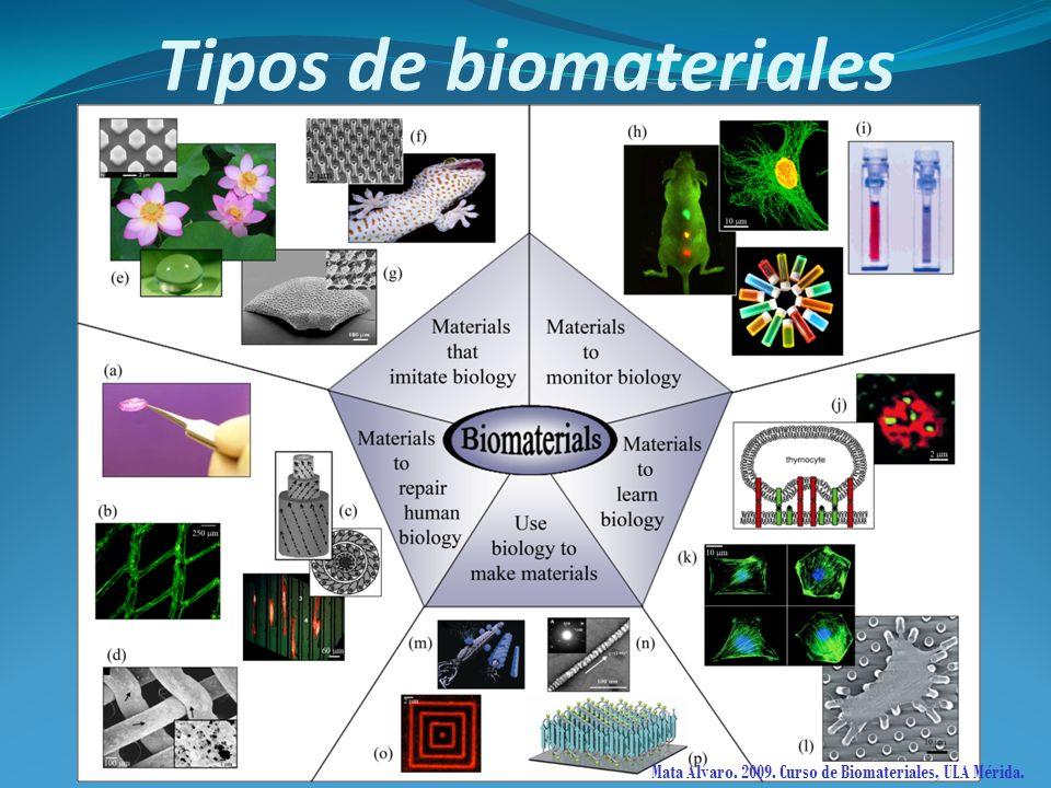 Mata Alvaro. 2009. Curso de Biomateriales, ULA Mérida. Tipos de biomateriales