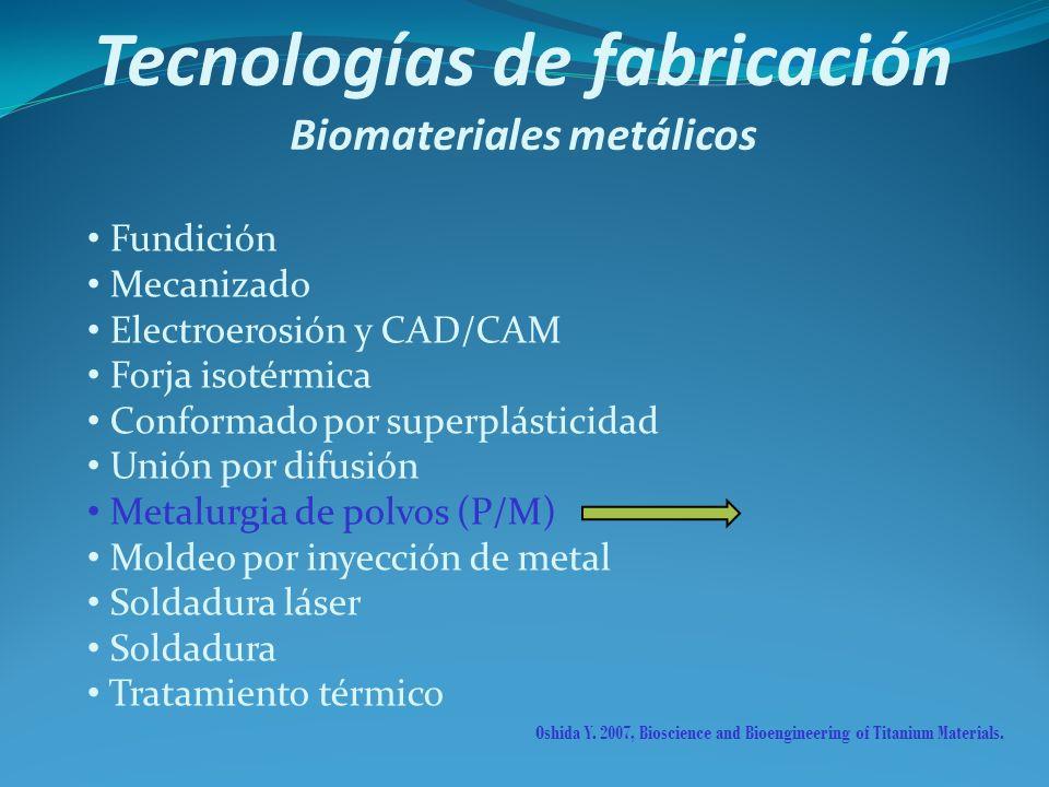 Tecnologías de fabricación Biomateriales metálicos Fundición Mecanizado Electroerosión y CAD/CAM Forja isotérmica Conformado por superplásticidad Unió