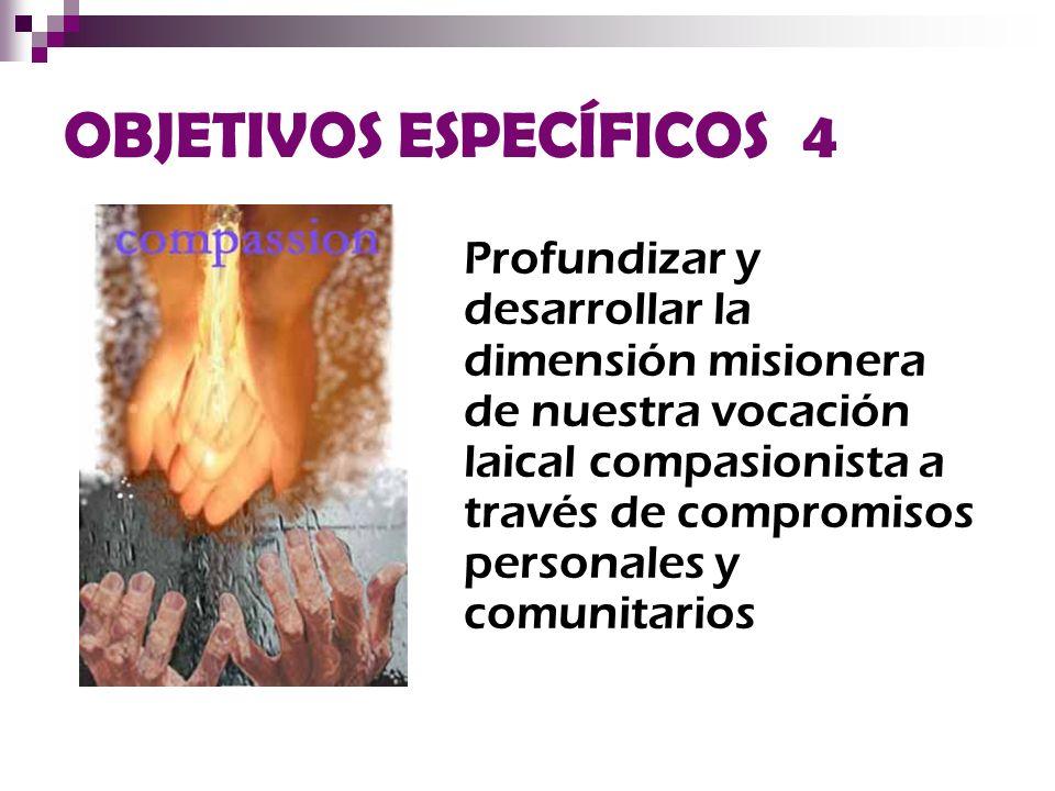 OBJETIVOS ESPECÍFICOS 4 Profundizar y desarrollar la dimensión misionera de nuestra vocación laical compasionista a través de compromisos personales y