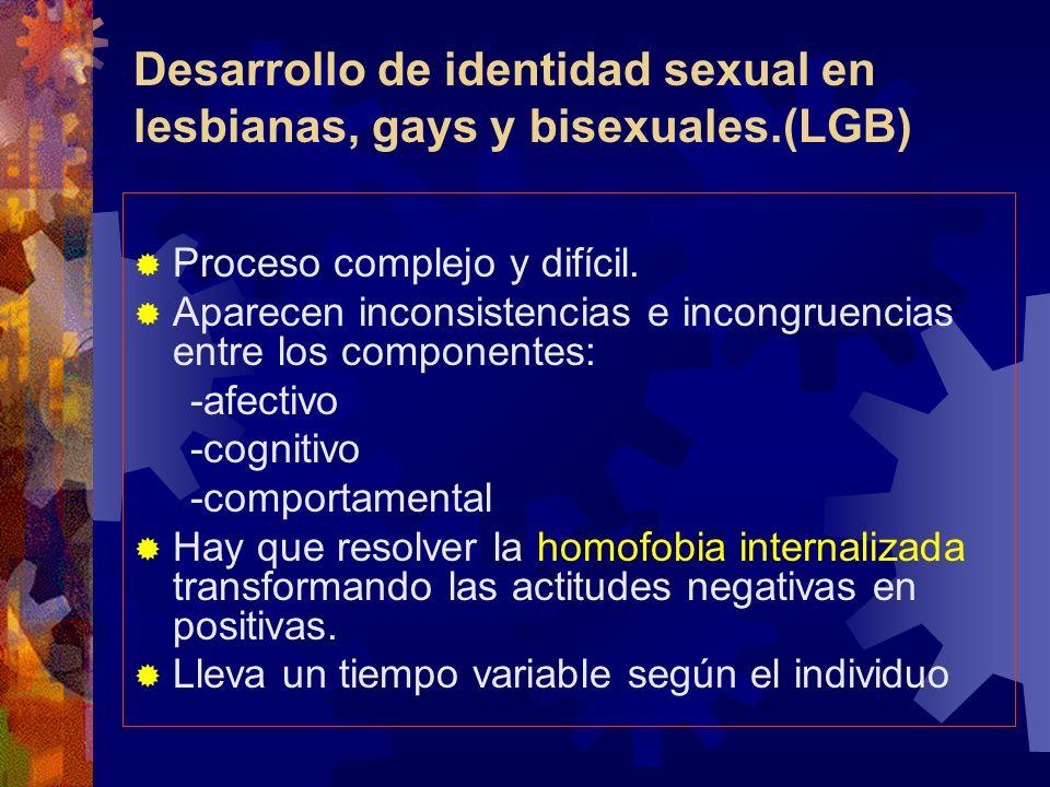 Desarrollo de identidad sexual en lesbianas, gays y bisexuales.(LGB) Proceso complejo y difícil. Aparecen inconsistencias e incongruencias entre los c