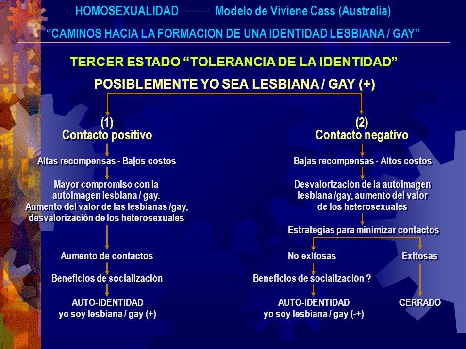 HOMOSEXUALIDADModelo de Viviene Cass (Australia) CAMINOS HACIA LA FORMACION DE UNA IDENTIDAD LESBIANA / GAY TERCER ESTADO TOLERANCIA DE LA IDENTIDAD P