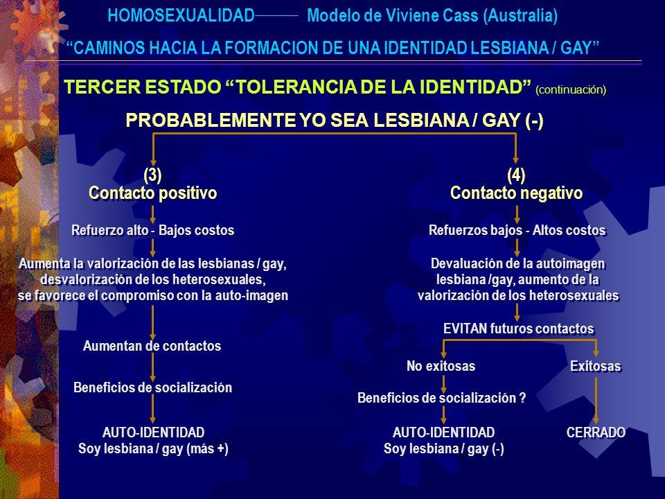 HOMOSEXUALIDADModelo de Viviene Cass (Australia) CAMINOS HACIA LA FORMACION DE UNA IDENTIDAD LESBIANA / GAY TERCER ESTADO TOLERANCIA DE LA IDENTIDAD (