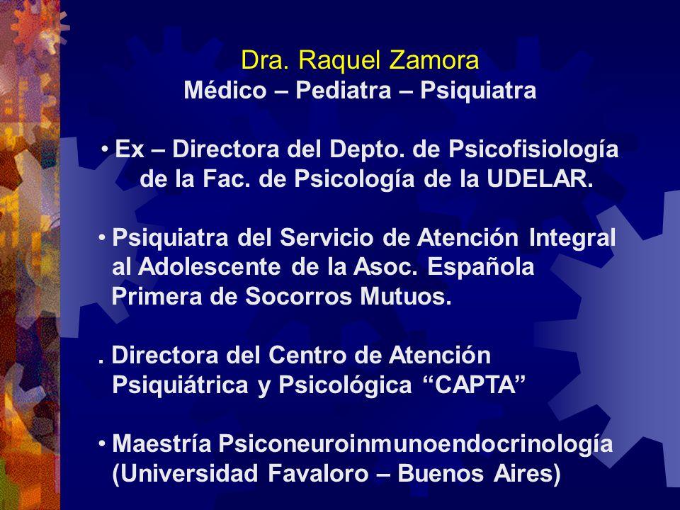 Dra. Raquel Zamora Médico – Pediatra – Psiquiatra Ex – Directora del Depto. de Psicofisiología de la Fac. de Psicología de la UDELAR. Psiquiatra del S