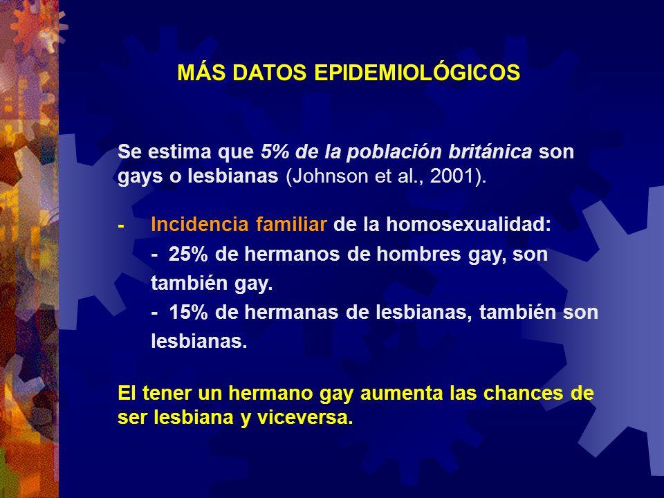 MÁS DATOS EPIDEMIOLÓGICOS Se estima que 5% de la población británica son gays o lesbianas (Johnson et al., 2001). - Incidencia familiar de la homosexu