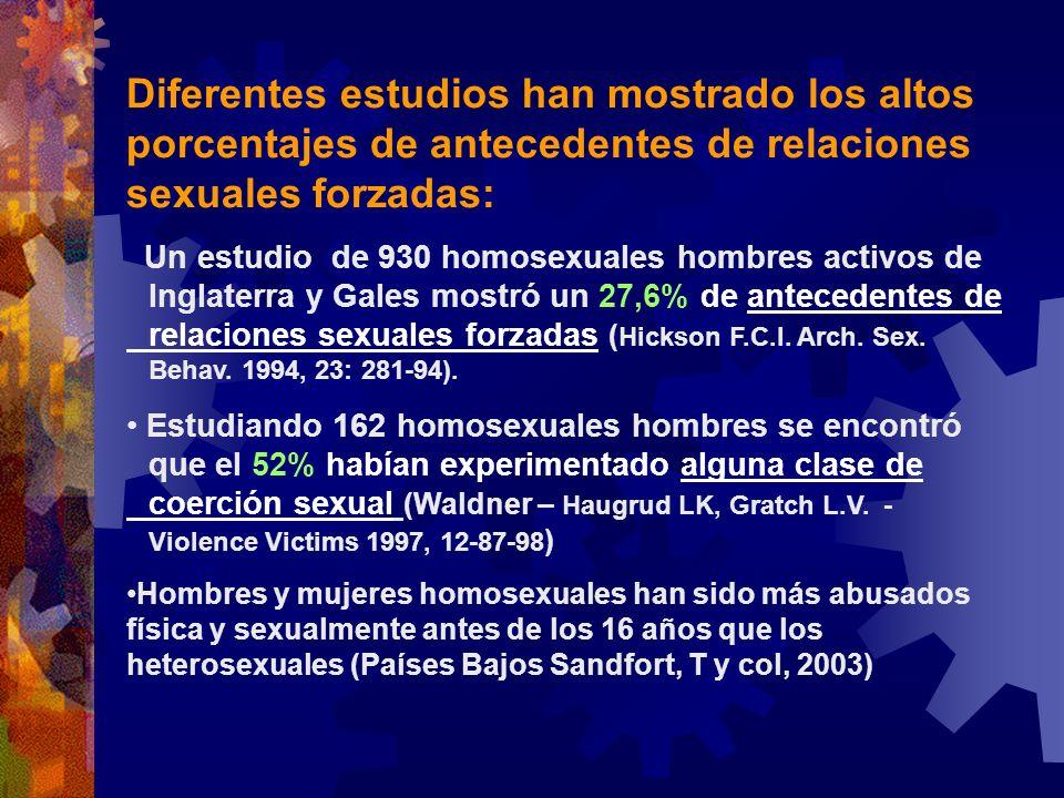 Diferentes estudios han mostrado los altos porcentajes de antecedentes de relaciones sexuales forzadas: Un estudio de 930 homosexuales hombres activos