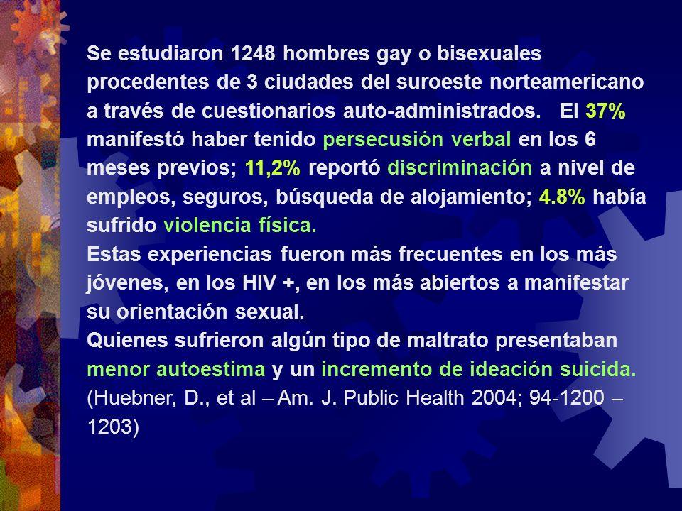 Se estudiaron 1248 hombres gay o bisexuales procedentes de 3 ciudades del suroeste norteamericano a través de cuestionarios auto-administrados. El 37%