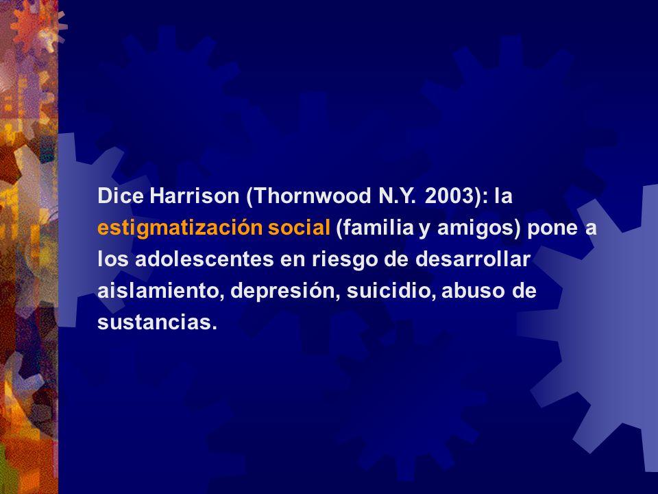 Dice Harrison (Thornwood N.Y. 2003): la estigmatización social (familia y amigos) pone a los adolescentes en riesgo de desarrollar aislamiento, depres