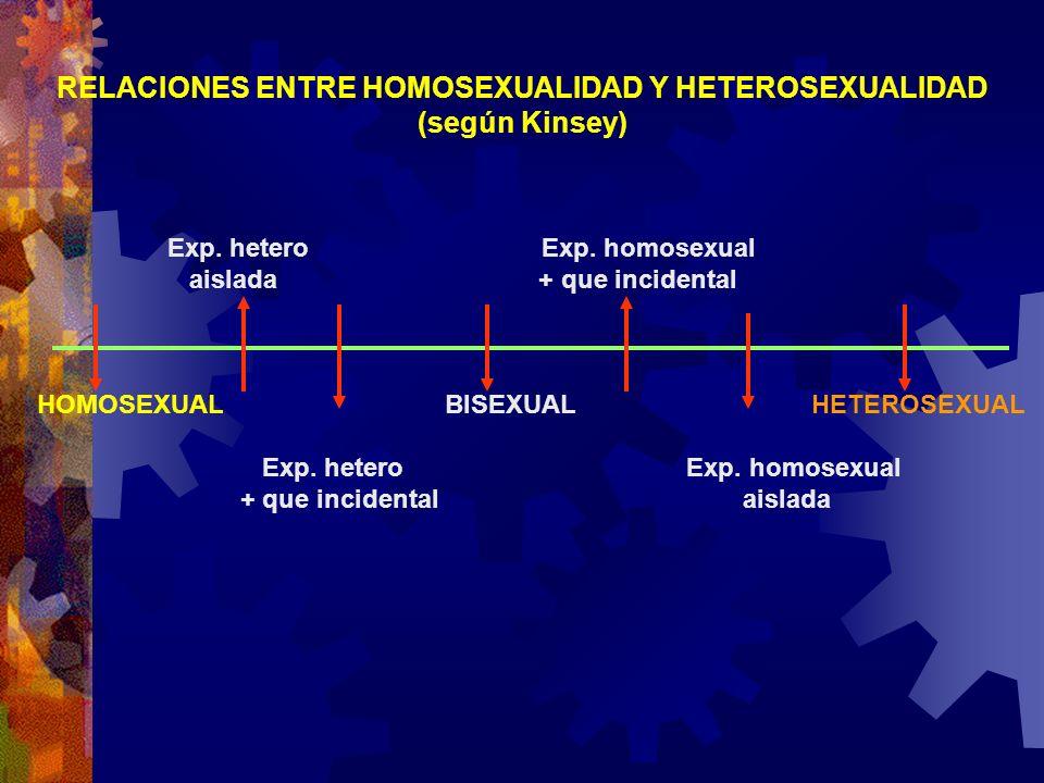 Exp. hetero Exp. homosexual aislada + que incidental HOMOSEXUAL BISEXUAL HETEROSEXUAL Exp. hetero Exp. homosexual + que incidental aislada RELACIONES