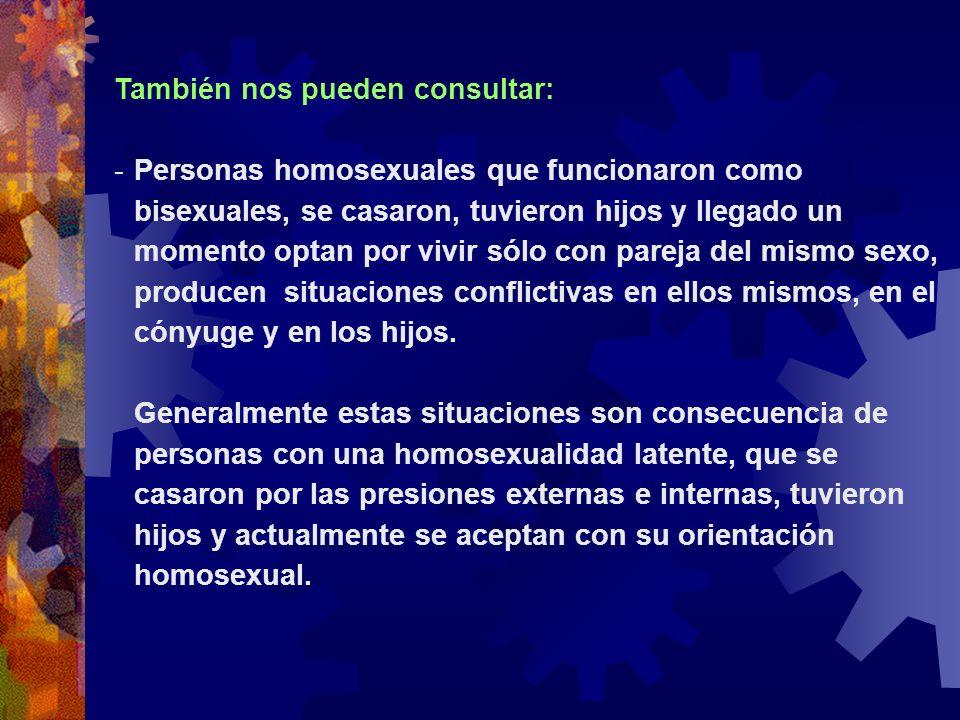 También nos pueden consultar: -Personas homosexuales que funcionaron como bisexuales, se casaron, tuvieron hijos y llegado un momento optan por vivir