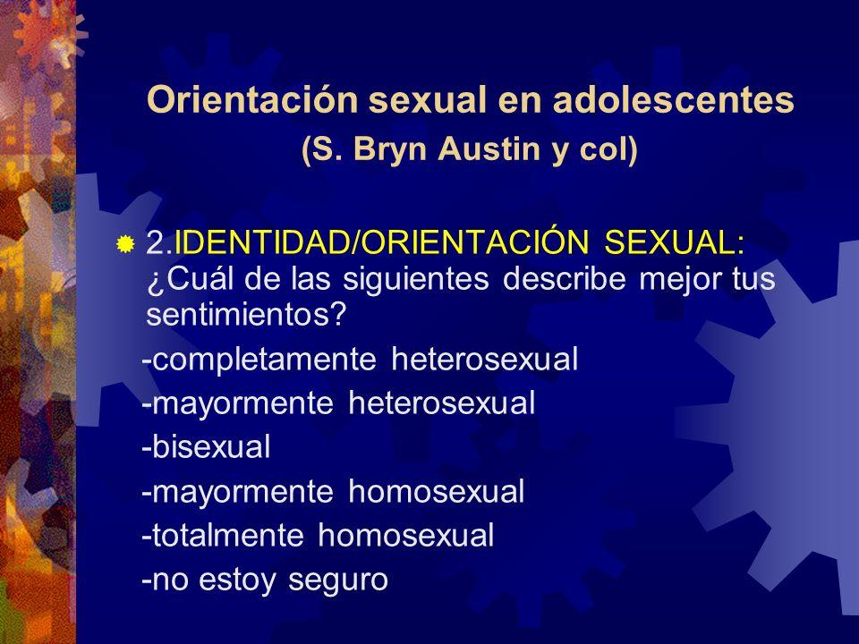 Orientación sexual en adolescentes (S Bryn Austin y col) 3- ATRACCIÓN SEXUAL Las personas son diferentes en relación a sentirse atraídos sexualmente, ¿cuál de las siguientes describe mejor tus sentimientos.