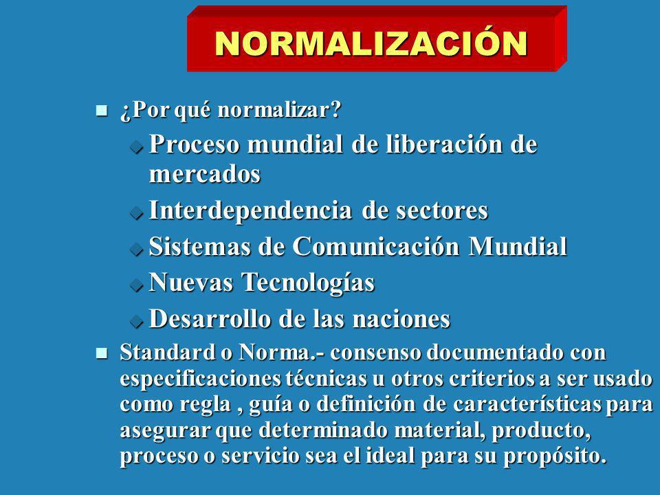 NORMALIZACIÓN ¿Por qué normalizar? ¿Por qué normalizar? Proceso mundial de liberación de mercados Proceso mundial de liberación de mercados Interdepen