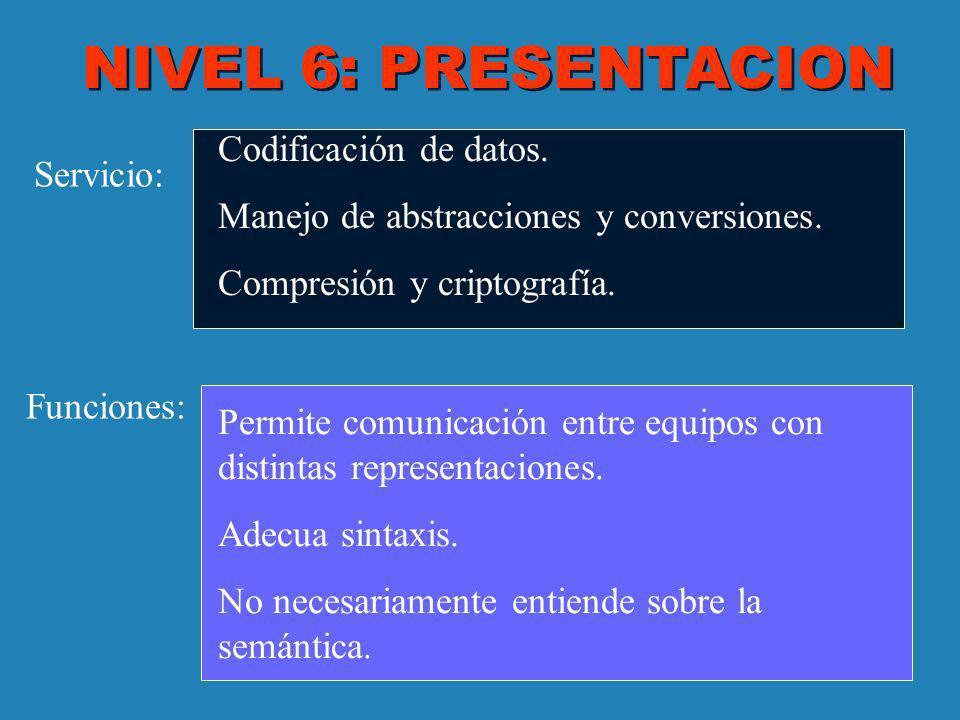 NIVEL 6: PRESENTACION Servicio: Funciones: Codificación de datos. Manejo de abstracciones y conversiones. Compresión y criptografía. Permite comunicac