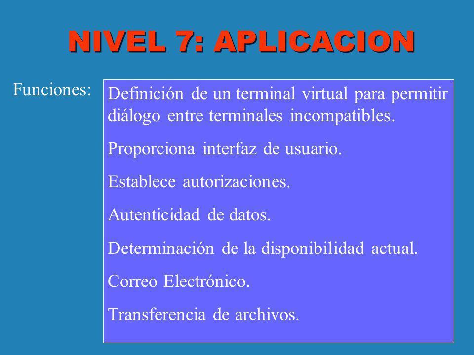 NIVEL 7: APLICACION Funciones: Definición de un terminal virtual para permitir diálogo entre terminales incompatibles. Proporciona interfaz de usuario