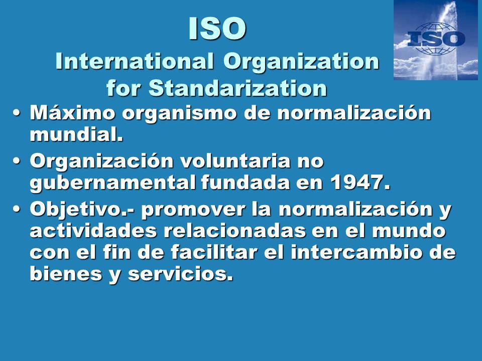 ISO International Organization for Standarization Máximo organismo de normalización mundial.Máximo organismo de normalización mundial. Organización vo