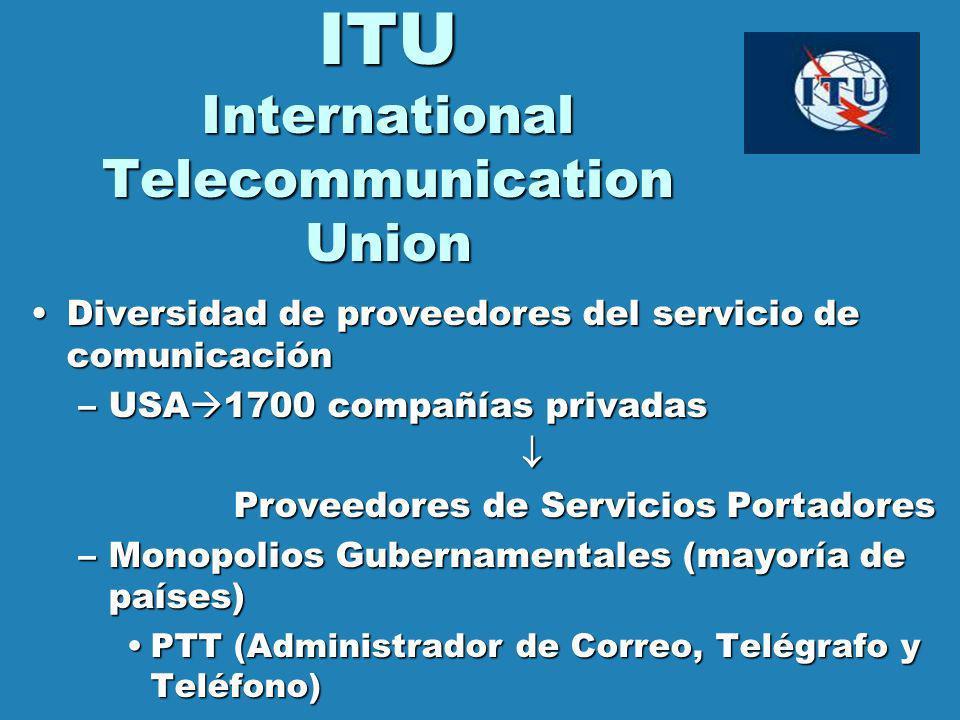 ITU International Telecommunication Union Diversidad de proveedores del servicio de comunicaciónDiversidad de proveedores del servicio de comunicación