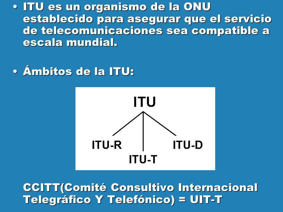 ITU es un organismo de la ONU establecido para asegurar que el servicio de telecomunicaciones sea compatible a escala mundial.ITU es un organismo de l